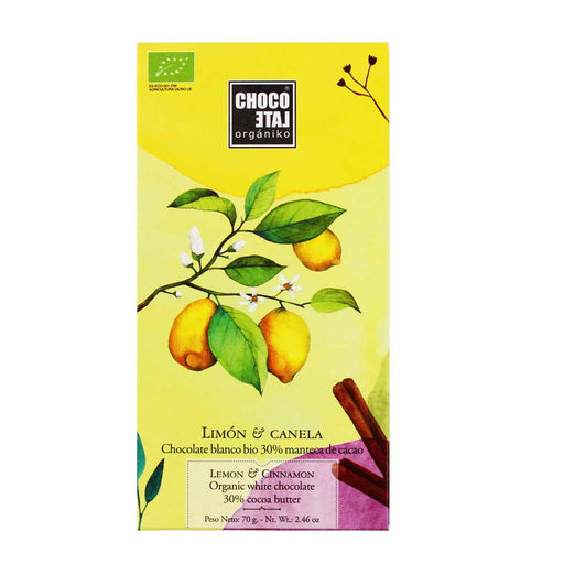 Organic White Chocolate with Lemon and Cinnamon 2.4 oz.