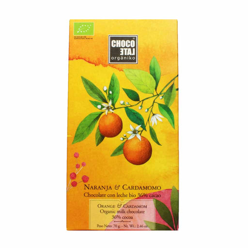 Spanish Organic Milk Chocolate with Orange and Cardamom 2.4 oz.