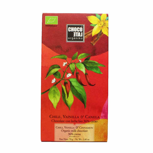 Spanish Organic Milk Chocolate with Chili, Vanilla and Cinnamon 2.4 oz.