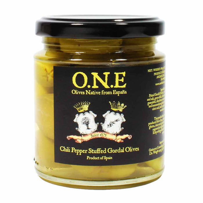 Spanish Chili Pepper Stuffed Gordal Olives 8 oz.