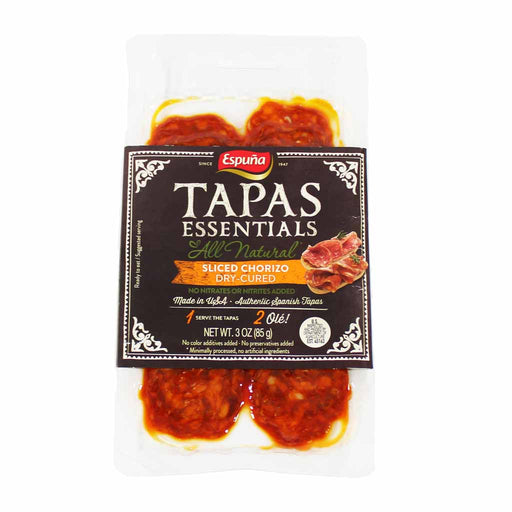 Espuna Tapas Essentials - Mild Chorizo, Sliced, Dry Cured, 3 oz