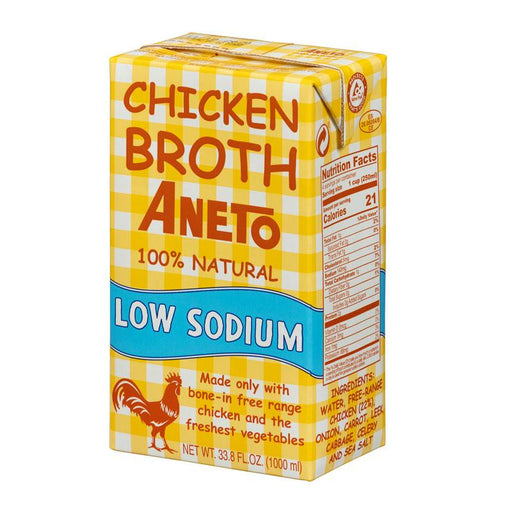 Aneto Low Sodium Chicken Broth, 33.8 fl oz (1L)
