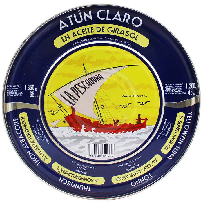 Extra Large La Pescadora Yellowfin Tuna in Sunflower Oil Tin 45 oz. (1300 g)