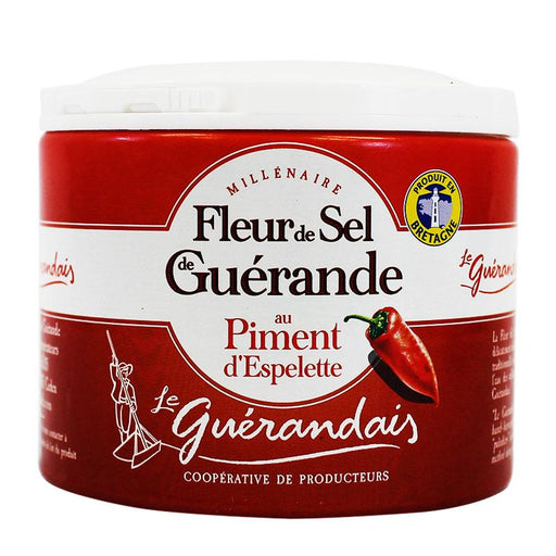 Fleur de Sel with Espelette Pepper by Le Guerandais, 4.4 oz (125 g)