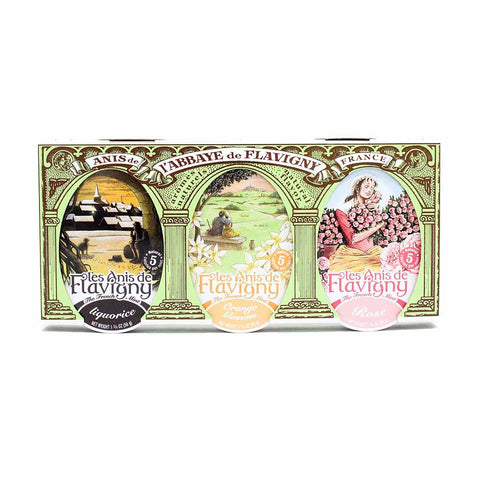 French Mint Licorice, Orange and Rose Flavor by Abbaye de Flavigny 3 Tins