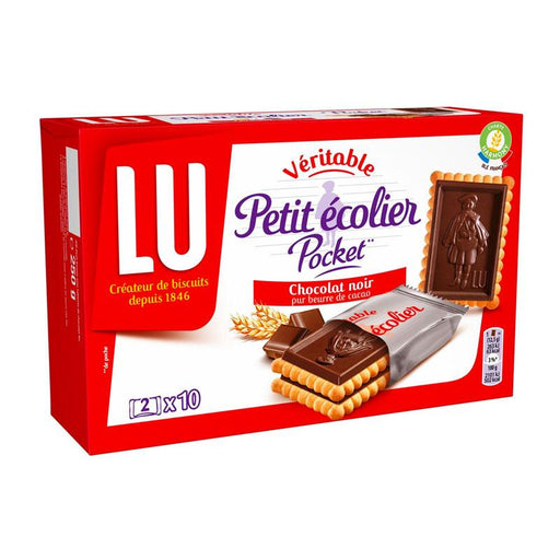 LU Cookies Petit Ecolier Dark Chocolate Biscuits, Snack Packs, 10 sachets, 8.8 oz (250g)