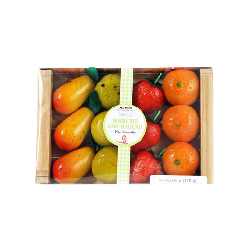 Maffren Assorted Fruits Marzipan in Basket, 6 oz (170 g)