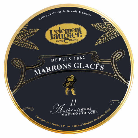 Marrons Glaces Candied Chestnuts in Black Tin by Clement Faugier 11 Pcs