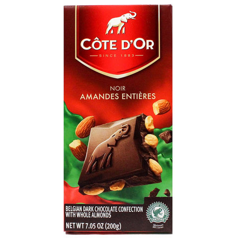 Dark Chocolate Bar with Whole Almonds by Cote d'Or 7 oz