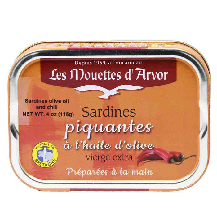 Mouettes d'Arvor Sardines with Olive Oil and Chili 4 oz