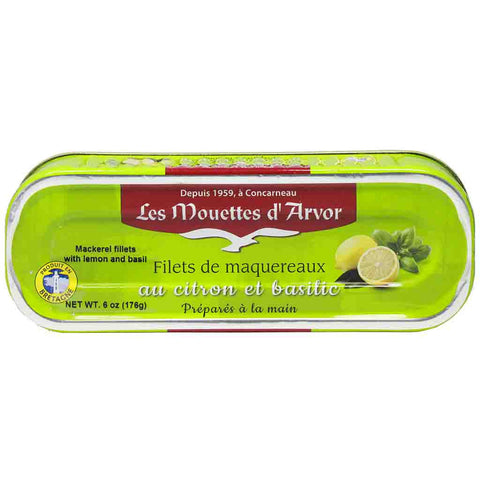 Mackerel Fillets with Lemon and Basil by Mouettes d'Arvor 6 oz