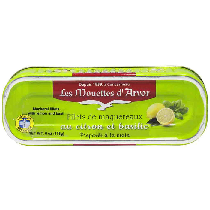 Mouettes d'Arvor Mackerel Fillets with Lemon and Basil 6 oz