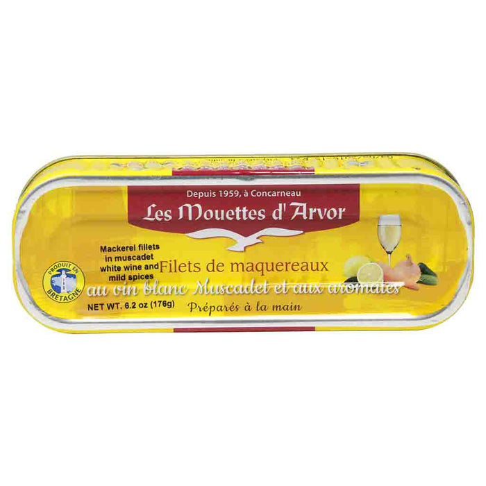 Mouettes d'Arvor Mackerel Fillets in White Wine and Mild Spices 6 oz