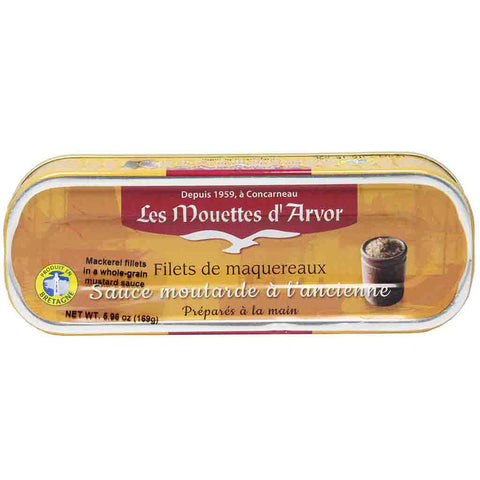 Mouettes d'Arvor Mackerel Fillets in Whole Grain Mustard 6 oz