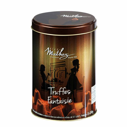 Mathez French Chocolate Truffle in Gold Tin, 17.6 oz