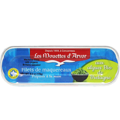 Mackerel Fillets with Organic Brittany Seaweed by Mouettes d'Arvor 5.9 oz