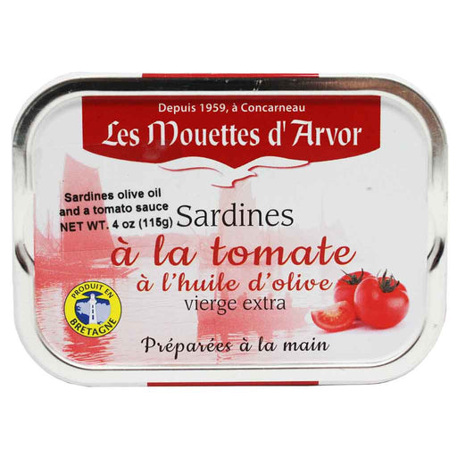 French Whole Sardines in Olive Oil & Tomato by Mouettes d'Arvor 4 oz