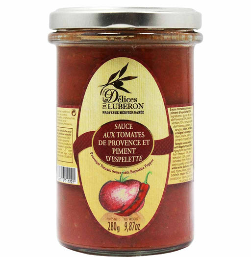French Tomato Pasta Sauce with Espelette Peppers by Delices du Luberon, 9.8 oz