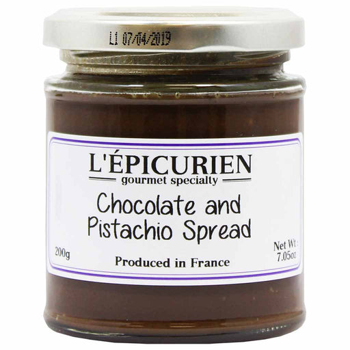 L'Epicurien French Chocolate and Pistachio Spread 7 oz