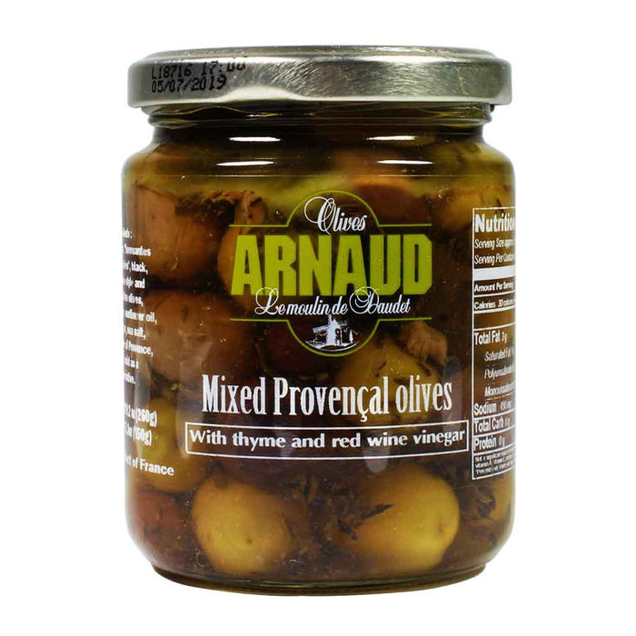 Arnaud Provencal Mixed Olives with Thyme & Red Wine Vinegar 9.2 oz.
