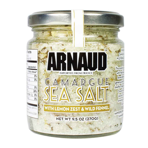 Arnaud Fleur de Sel Camargue Sea Salt with Lemon Zest and Wild Fennel, 9.5 oz (270 g)