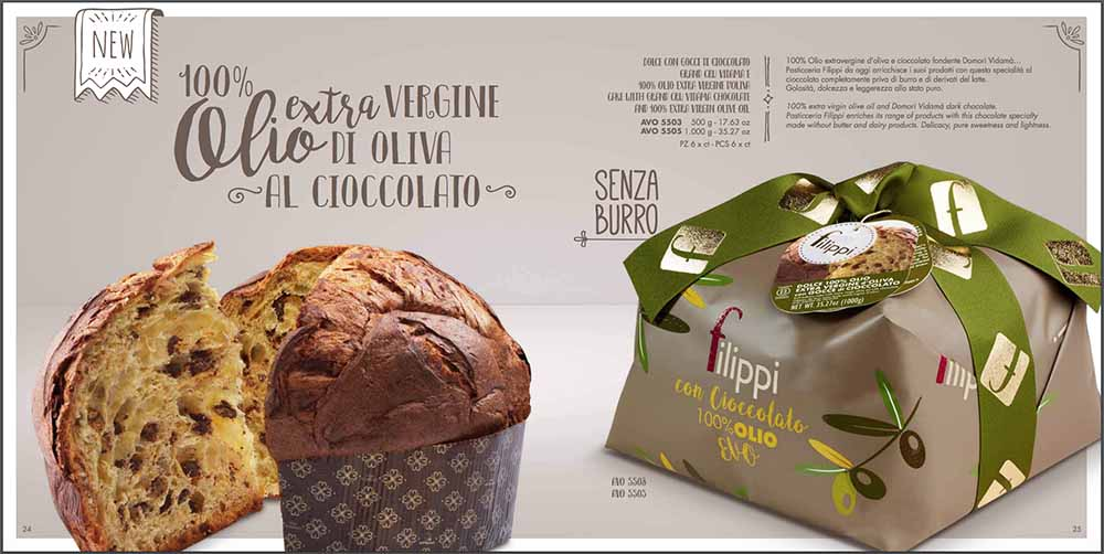 Filippi Large Italian Extra Virgin Olive Oil and Chocolate Panettone 35.2 oz. (1kg)