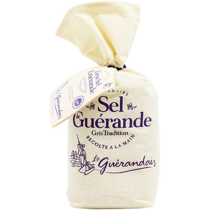 Gros Sel de Guérande Coarse Grey Sea Salt in Linen Bag 26.4 oz. (750 g)
