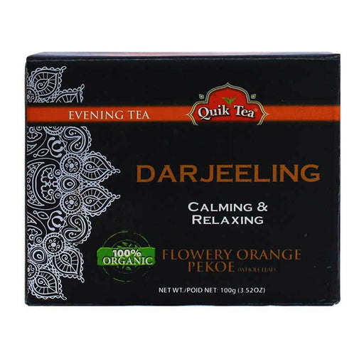 Quik Tea Organic Darjeeling Orange Pekoe Whole Leaf Tea, 3.52 oz (100g)