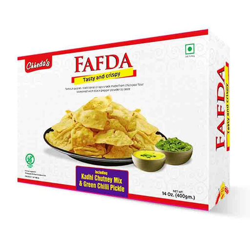 Chheda's Fafda Gujrati Snack with Chutney and Pickle, 14 oz (400g)