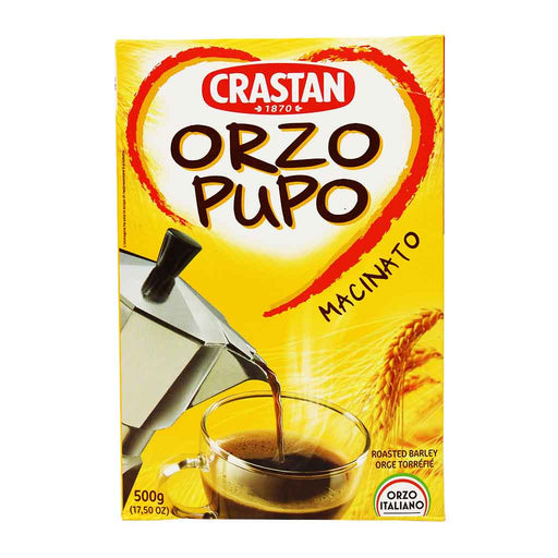 Orzo Drink Roasted & Ground Barley Pupo Macinato by Crastan, 17.5 oz.