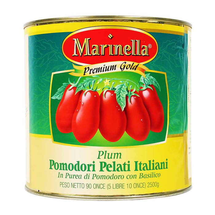 Italian Whole Peeled Plum Tomatoes with Basil Marinella, 90 oz.