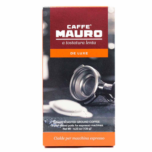 De Luxe Roasted Ground Coffee Pods by Caffe Mauro 18 Pods