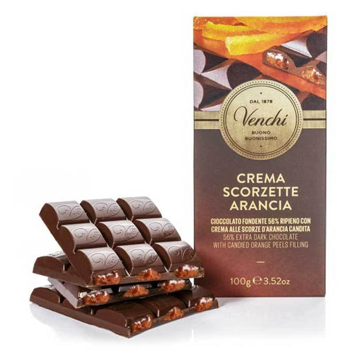 Venchi Candied Orange Dark Chocolate Bar, 3.52 oz (100 g)