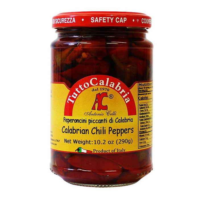 Tutto Calabria Calabrian Chili Peppers in Oil, 10.2 oz (290 g)