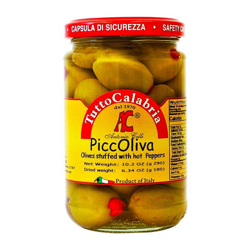 Tutto Calabria Olives Stuffed with Hot Peppers, PiccOliva, 10.2 oz (290 g)