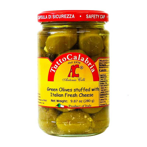 Tutto Calabria Green Olives Stuffed with Cheese, 9.87 oz (280 g)