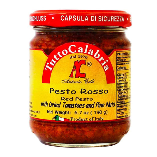 Tutto Calabria Red Pesto with Dried Tomatoes and Pine Nuts, 6.7 oz (190 g)