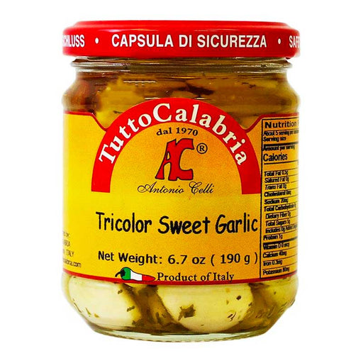 Tutto Calabria Tricolor Sweet Garlic in Oil, 6.7 oz (190 g)