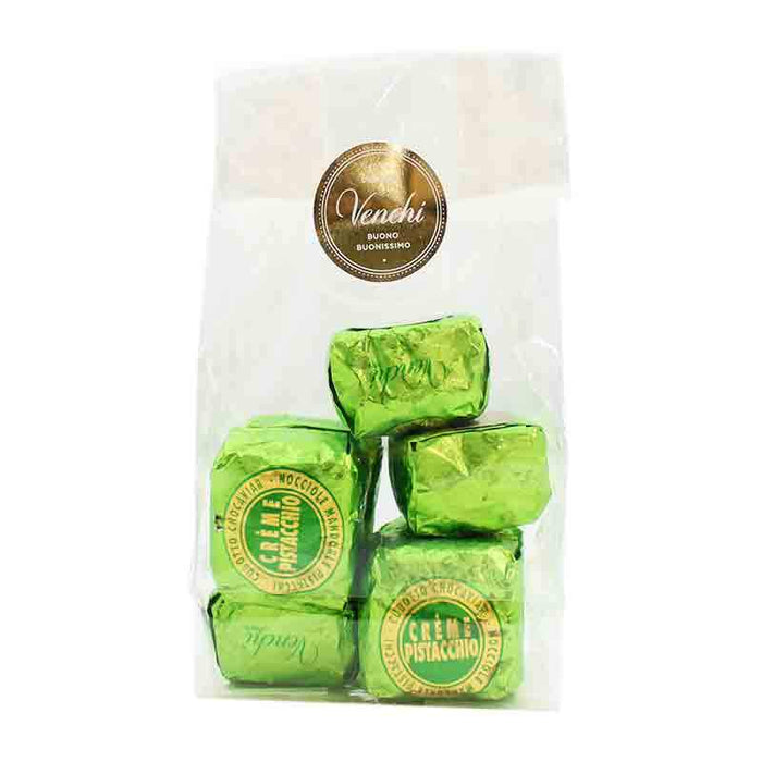 Venchi Chocolate Pistachio Creme Chocaviar in Gift Bag, 4 pc