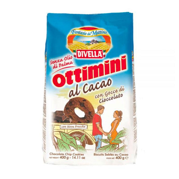 Divella Ottimini Chocolate Cookies with Chocolate Chips, 14 oz (400 g)