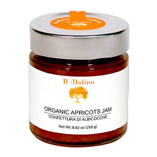 Organic Apricot Jam from Italian Apricots, 45% Fruit by Il Molino, 8.8 oz (250g)