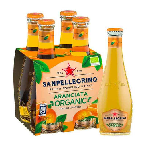 Organic San Pellegrino Aranciata Sparkling Orange Beverage, 4 x 6.75 fl oz (200mL)