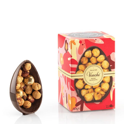 Venchi Dark Chocolate Egg with Whole Piedmont Hazelnuts, 2.1 oz (60g)
