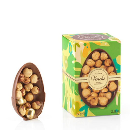 Venchi Milk Chocolate Egg with Whole Piedmont Hazelnuts, 2.1 oz (60g)
