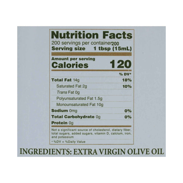 Pietro Coricelli Extra Virgin Olive Oil, NAOOA Certified, 6.6 lb (3.0 kg)