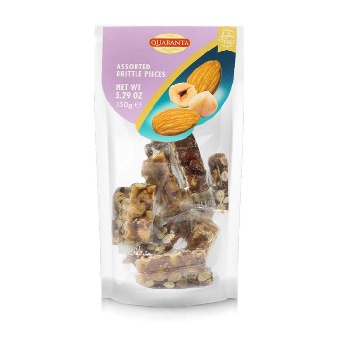 Quaranta Assorted Almond and Hazelnuts Brittle Pieces, 5.3 oz (150 g)