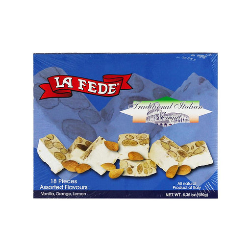 La Fede Italian Nougat Assortment Vanilla, Orange & Lemon Flavors, 6.4 oz (180 g)