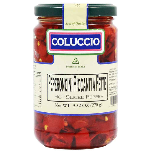Premium Italian Hot Sliced Peppers by Coluccio 9.5 oz