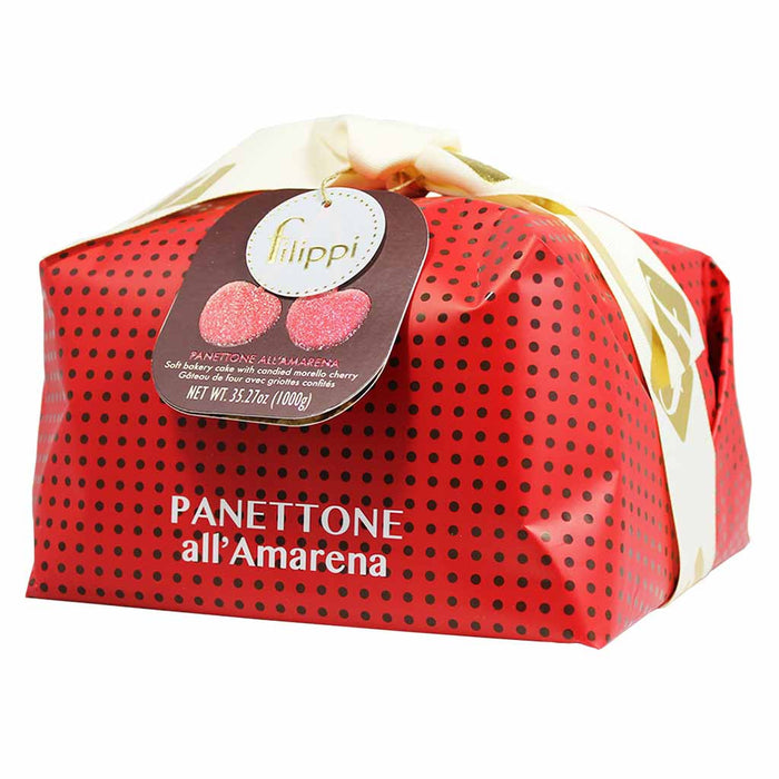 Large Italian Amarena Cherry Panettone by Filippi 35 oz (1kg)