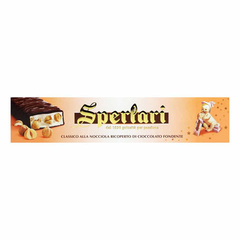 Hard Torrone Nougat with Hazelnut Chocolate by Sperlari 8.7 oz (250g)